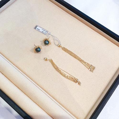 AAAA 12-13 mm Tahitian Pearl Wear Two Ways Earrings, 18k Gold