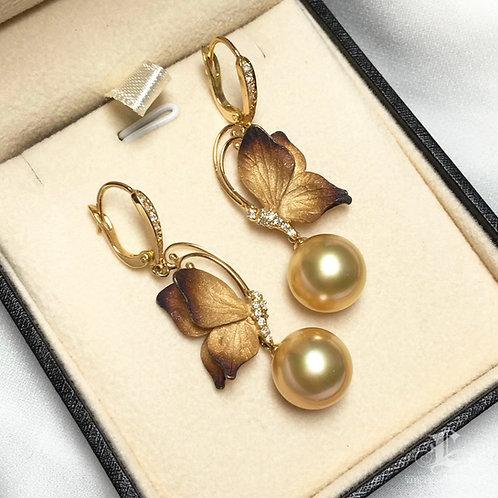 AAAA 11-12mm Golden South Sea Pearl Classic Earrings 18k Gold
