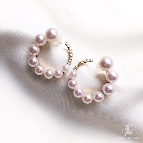 AAAA 3-6mm Baby Akoya Pearl Fashion Earrings, 18k Gold w/ Diamond