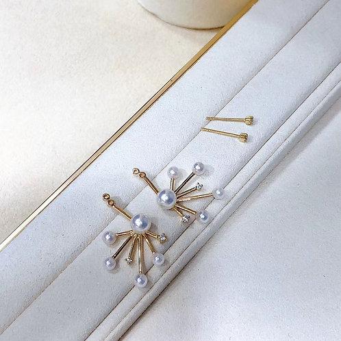 AAAA 3.5-6 mm Akoya Pearl Bow Earrings 18k Gold w/ Diamond