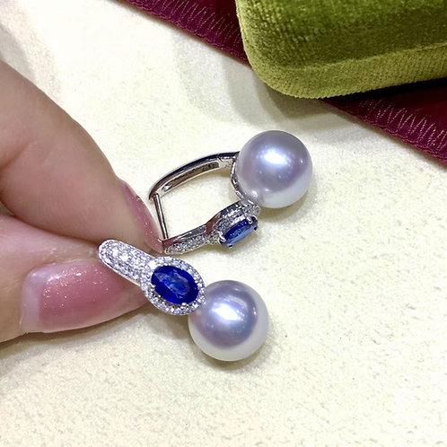 1.50ct Sapphire AAAA 10-11 mm South Sea Pearl Earrings 18k Gold w/ Diamond