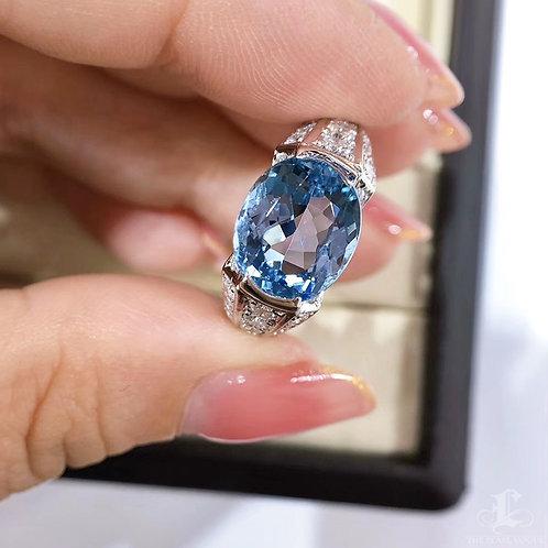 3.65 ct Blue Natural Aquamarine Ring PT Gold Diamond w/ Certificate