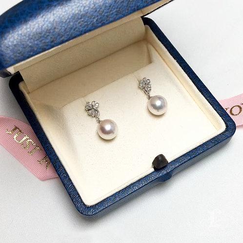 AAAA 8-8.5 mm Akoya Pearl Earrings, 18k Gold w/ Diamond