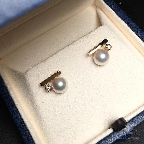 AAAA 7.5-8mm Akoya Pearl Earrings, 18k Gold w/ Diamond