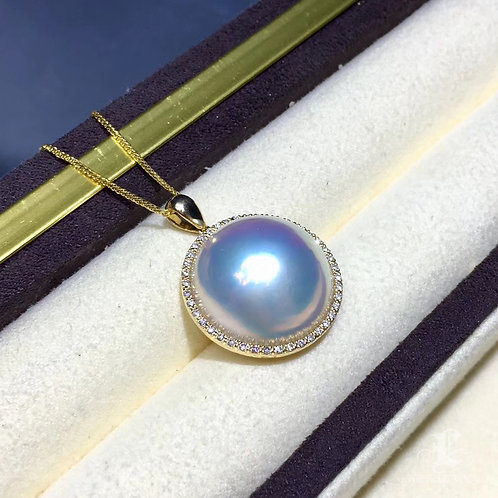 19-20 mm  Mabe Pearl Classic Pendant 18k Gold w/ Diamond - AAAA