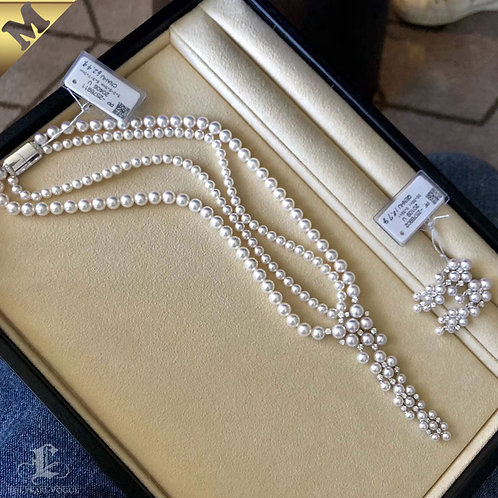 PMS AAAA 4-8 mm Akoya Pearl Strand Necklace w/ Diamond Clasp