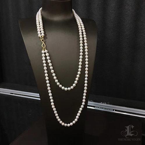 120cm, 6.5-7mm Hanadama 花珠 Akoya Pearl Double Strand Necklace Japan Certificate