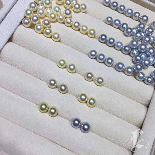 AAA 8-8.5mm Champagne Akoya Pearl Stud Earrings 18k Gold