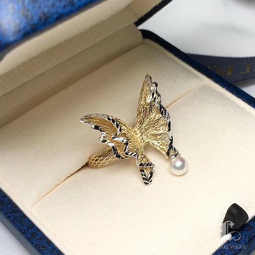 AAA 4-5 mm Baby Akoya Pearl Ring, 18k Gold w/ Diamond