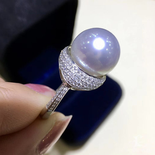 0.69ct Diamond AAAA 13-14mm White South Sea Pearl Ring, 18k White Gold