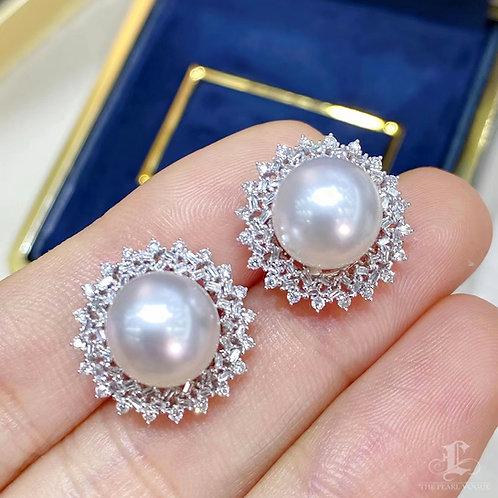 0.62 ct Diamond, AAAA 9-10 mm South Sea Pearl  Earrings 18k Gold