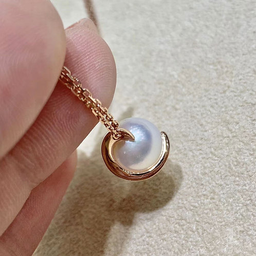 18k Rose Gold, AAAA 9-9.5 mm Akoya Pearl Fashion Pendant