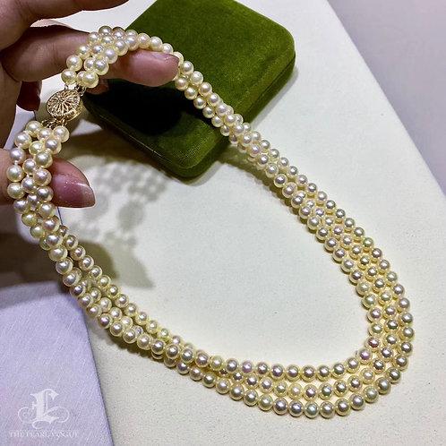 45cm, AAAA 5.5-6mm Golden Baby Akoya Pearl Triple Strands Necklace