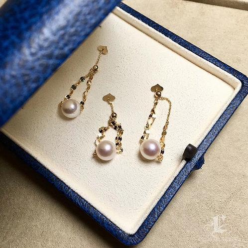 8-8.5mm Akoya Pearl Adjustable Ring, 18k Gold - AAAA
