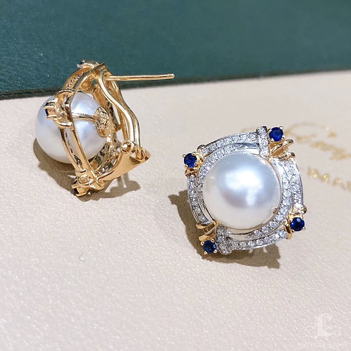0.48 ct Diamond, AAAA 10-11 mm South Sea Pearl Earrings 18k Gold w/ Sapphire