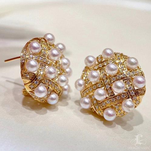 0.78 ct Diamond AAAA 3.5-4.5 mm Akoya Pearl Earrings 18k Gold