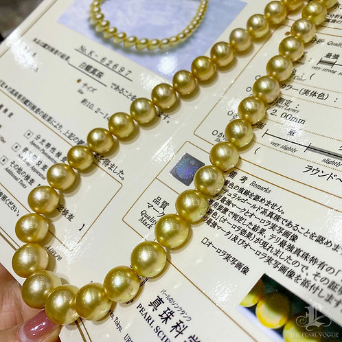 45cm AAAA 10.1-13.4 mm Golden Pearl Classic Necklace w/ Japan Certificate