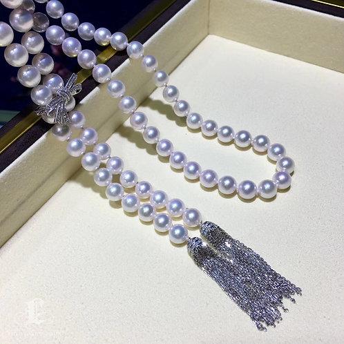 95cm Long Necklace, AAAA 7.5-8 mm Akoya Pearl Tassel Sweater Strand 18k Gold Dmd