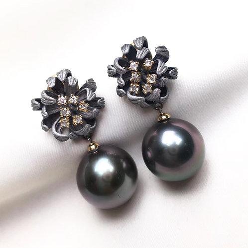 AAAA 11-12mm Tahitian Pearl Daisy-Shape Earrings, 18k Gold w/ Diamond