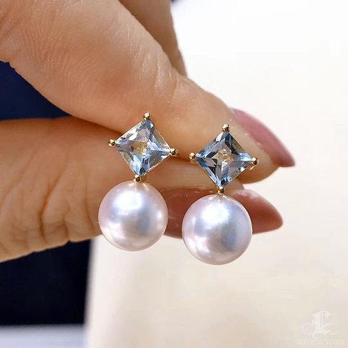 1.0 ct Aquamarine, AAAA 8-8.5mm Akoya Pearl Earrings, 18k Gold