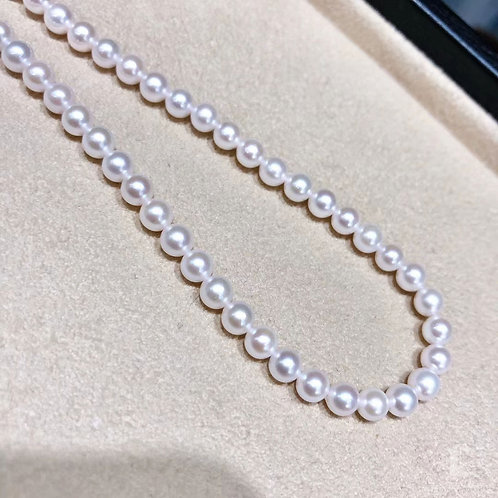 40+3 cm AAAA 4.5-5 mm Akoya Pearl Classic Necklace Silver Clasp