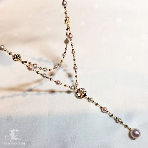50cm, AAAA 4-8 mm Akoya Pearl Lariat Tin Cup Necklace 18k Gold