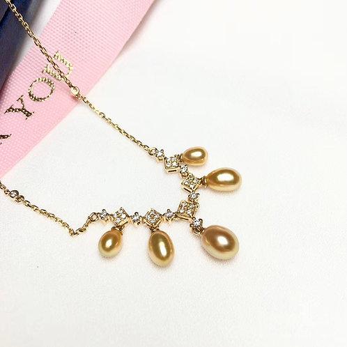 KESHI 3-6 mm Wild South Sea Pearl Pendant, 18k Gold w/ Diamond