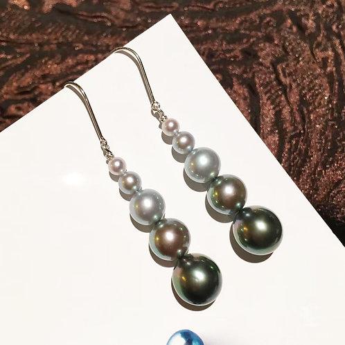 AAA 9-9.5mm Tahitian Pearl Gradient Ombre Earrings 18k Gold