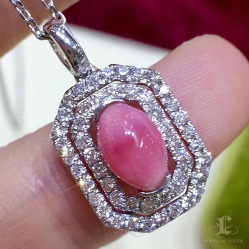 1.65ct Conch Pearl Pendant, 18k Gold w/ Diamond