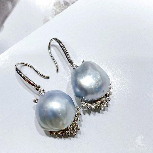 0.53 ct Diamond AAAA 13-14 mm Baroque South Sea Pearl Earrings 18k Gold