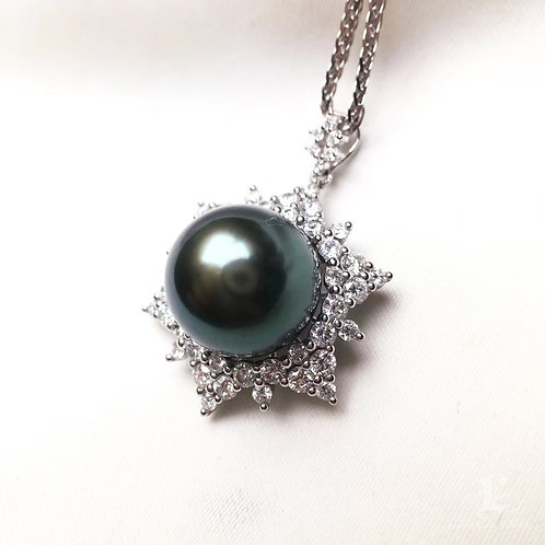 1.30ct Diamond AAAA 12-13mm Tahitian Pearl Pendant