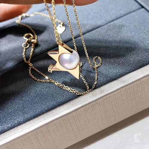 AAAA 7-7.5 mm Akoya Pearl Fashion Pendant, 18k Gold w/ Diamond