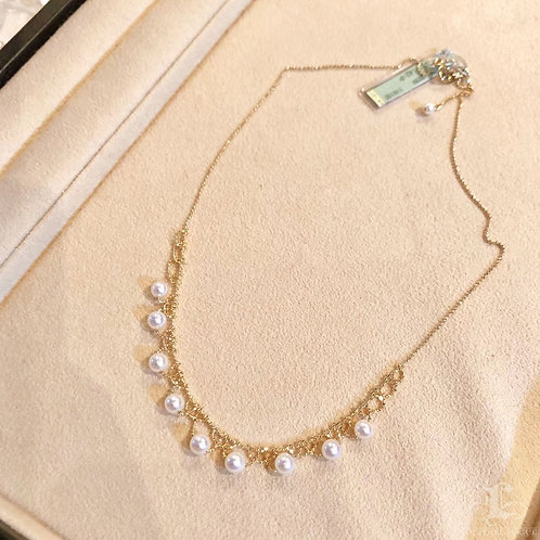 45 cm, AAAA 5-6 mm Akoya Pearl Lace Collar Necklace 18k Gold