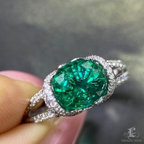 2.20 ct Natural Vivid Green Emerald Ring 18k Gold w/ Diamond w/ GRC Certificate