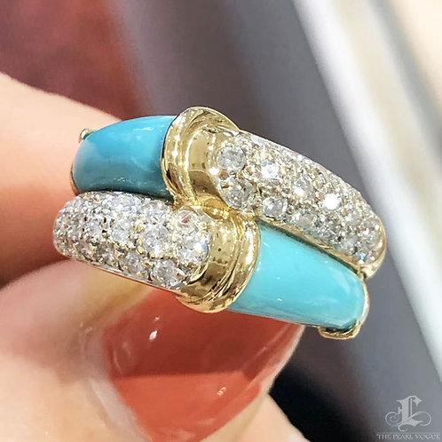0.50ct Diamond Natural Turquoise Royal Ring 18k Gold
