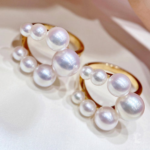 AAAA 3-9 mm Akoya Pearl Unique Ring, 18k Gold