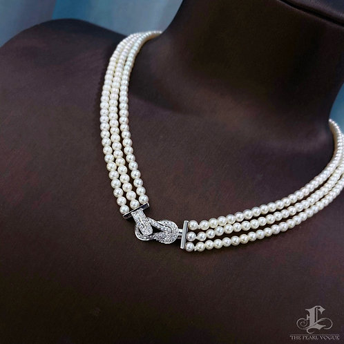 41cm Diamond Clasp, AAAA 3-3.5 mm Baby Akoya Pearl Triple Strand Necklace