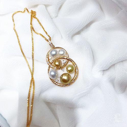 KESHI 5-6 mm Wild South Sea Pearl Pendant, 18k Gold w/ Diamond