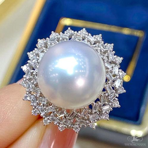 0.65ct Diamond, AAAA 13 mm South Sea Pearl Ring Pendant 18k Gold