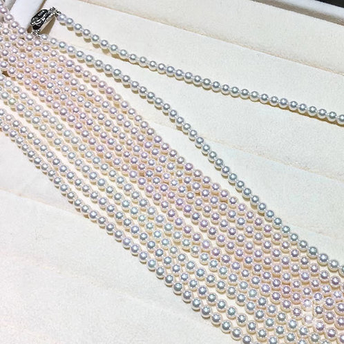43cm, AAAA 4-4.5mm Baby Akoya Pearls Classic Necklace w/ Sterling Silver Clasp