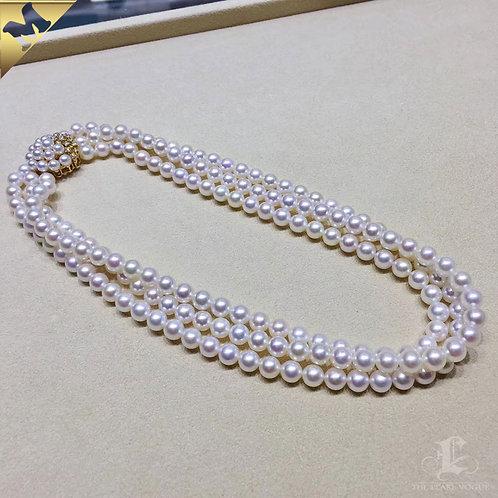 42cm Large Pearl Gold Clasp, AAAA 3-7 mm Akoya Pearl Triple Strand 18k Gold