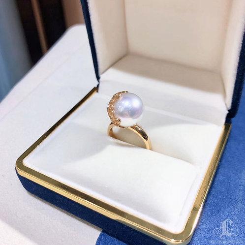 AAAA 12-13mm White South Sea Pearl Ring, 18k Gold Diamond