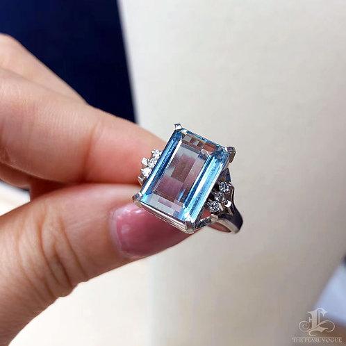 5.12 ct Natural Aquamarine Ring 18k Gold w/ Diamond