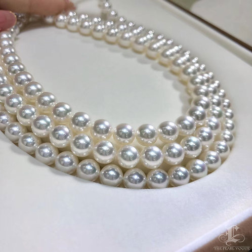 45cm, Aurora Hanadama|天女 8.5-9 mm Akoya Pearl Classic Necklace w/ Japan Certific