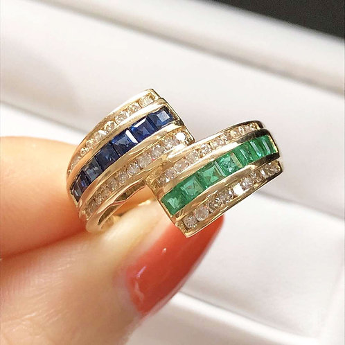 0.34ct Diamond, Natural Emerald and Sapphire Micro-Pave Ring 18k Gold