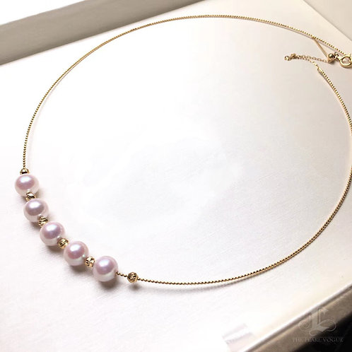 45cm, AA 7-8mm Akoya Pearl Collar Necklace 18k Gold