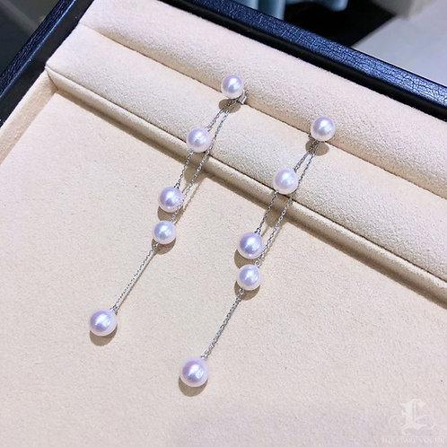 AAAA 6.5-8.5 mm Akoya Pearl Earrings, 18k Gold