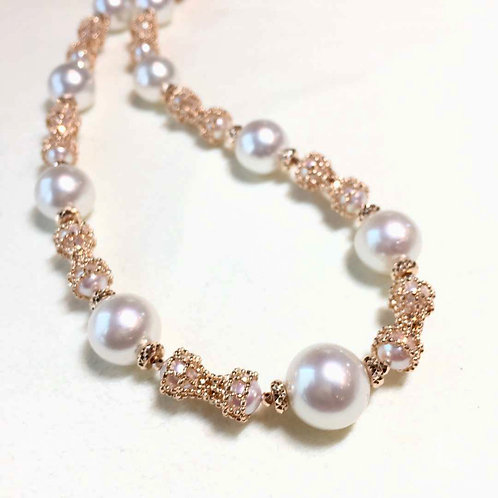 45+5cm 9-12 mm South Sea Pearl Novel Strand Necklace 18k Rose Gold - AAAA