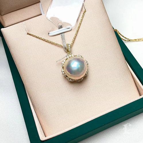12-13 mm Mabe Pearl Pendant 18k Gold w/ Diamond - AAAA