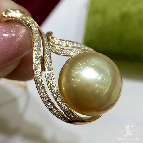 LARGE PEARL! AAAA16.7mm Golden South Sea Pearl Royal Pendant 18k Gold w/ Diamond